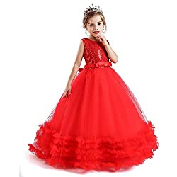 Sequin-Red Flower Girl Puffy Ball Gowns