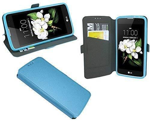 ENERGMiX Buchtasche kompatibel mit LG K7 (X210) Hülle Case Tasche Wallet BookStyle mit Standfunktion in Blau