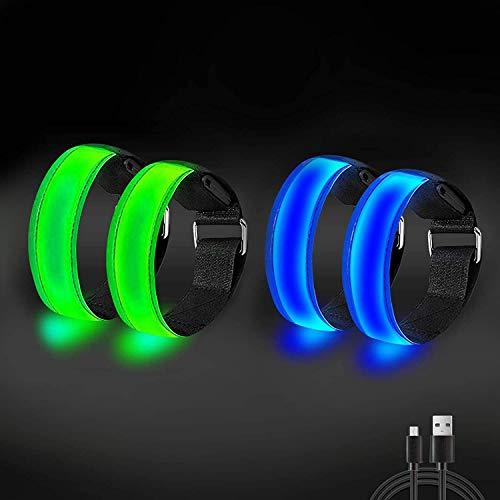 Brazalete con luz LED recargable, brazalete reflectante Brazalete de alta visibilidad ajustable Brazalete con luz de seguridad para correr Pulseras para deportes al aire libre, ciclismo, caminar