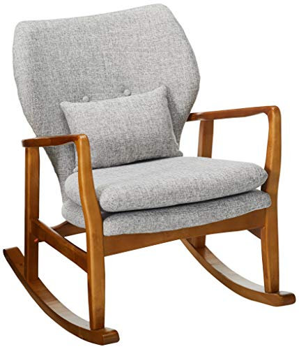 Christopher Knight Home Benny Mid-Century Modern Fabric Rocking Chair, Light Grey Tweed / Light Walnut