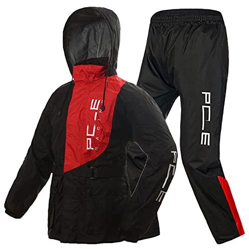 LYZL wasserdichte Regenjacke Anzüge Motorrad Radfahren für Männer Frauen Regenbekleidung - Regenkombi Motorrad mit reflektierenden Streifen,Rot,XXL