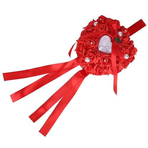 DERCLIVE - Cuscino per bomboniere, motivo: rosa romantico, con cuore e perla, colore: bianco e rosso