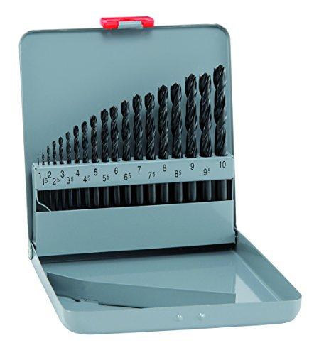 alpen HSS Sprint Spiralbohrer, kurz, DIN 338 RN, Durchmesser 1-10,5 x 0,5 mm als 19-teiliger Satz in der Metallkassette, 800311100