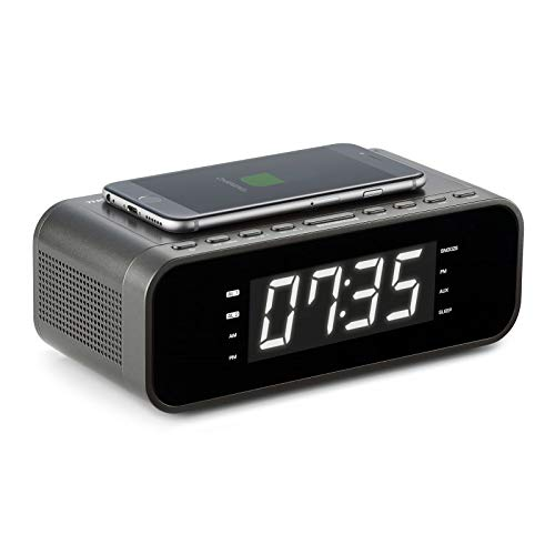 Thomson CR225I - Radio despertador (Cargador inalámbrico de inducción, AUX-IN 3.5 mm, radio FM, USB, doble alarma) color negro