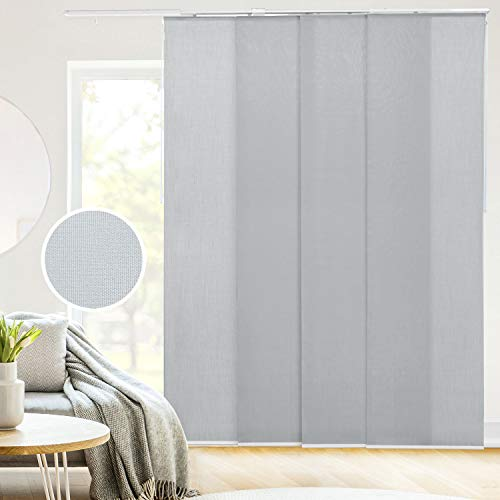 CHICOLOGY Adjustable Sliding Panels, Perfect Privacy Vertical Blinds for Large Windows and Decor Trimmable Length, W:46-86 x H: Up to-96 inches, Skyrise Grey (Light Filtering)