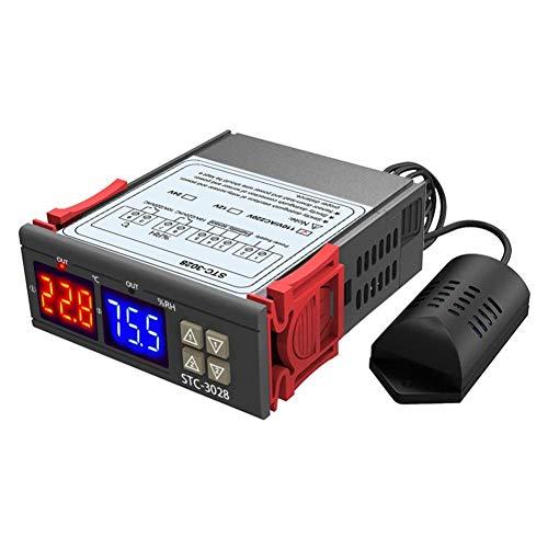 Rrunzfon STC-3028 Controlador de Temperatura Digital, AC110~220V termostato regulador con Doble Sensor NTC Sonda Temperatura Muy Calentador (Negro) 24V