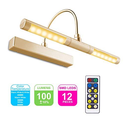 HONWELL LED Specchio Luce Senza fili a Batteria con Telecomando,Testa Girevole da 33 cm con 3 Modalità di Illuminazione,12 LED Lampada da Pittura Tavolo Moderna Lampada da Parete per Quadri,Oro
