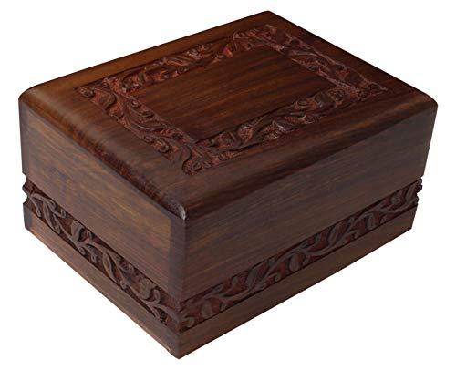 Bogati Hand Carved Rosewood Urn with Border Design