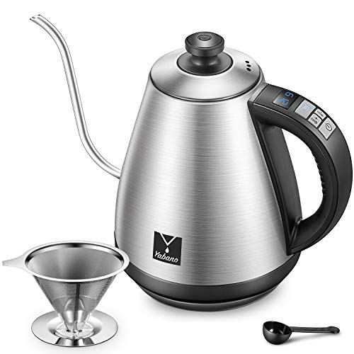 Electric Gooseneck Pour Over Coffee Kettle with Coffee Dripper, Yabano Variable Temperature Control Kettle for Drip Coffee and Tea, Stainless Steel, LED Display, Auto Shut-off and Keep Warm, 1000W