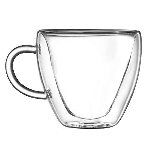 Anjiyoyo Heart Shaped Double Walled Insulated Glass Coffee Mugs or Tea Cups, Double Wall Glass 8 oz,...