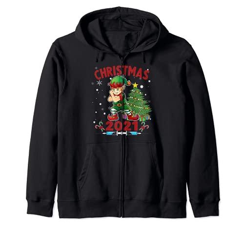 Divertida Navidad - Elfo Vacunado Sudadera con Capucha