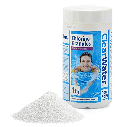 Clearwater CH0010 Chlorine Granules for Hot Tub Spa and Swimming Pool Water Treatment for Rapid Disinfecting and Cleaning, 1 kg