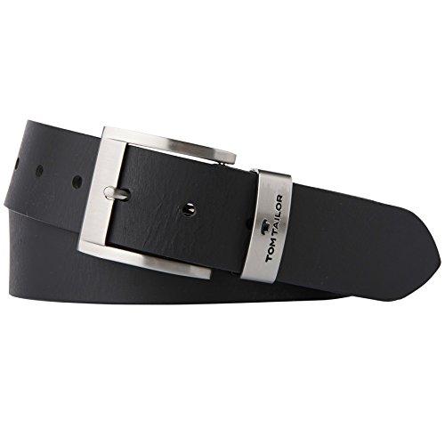 TOM TAILOR für Männer Gürtel & Riemen Leder-Gürtel mit Metall-Schlaufe black, 90