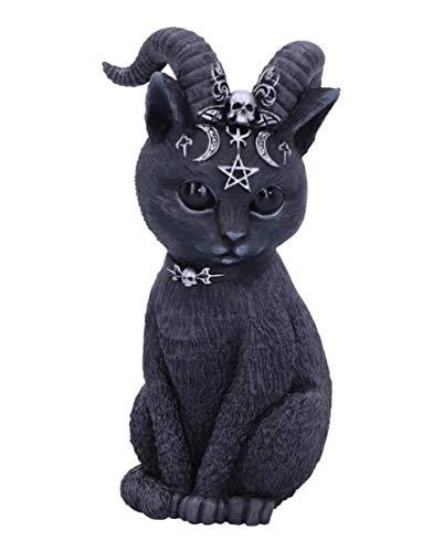 Horror-Shop Geheimnisvolle Katzenfigur mit Ziegenhörner als Gothic Wohn Accessoire
