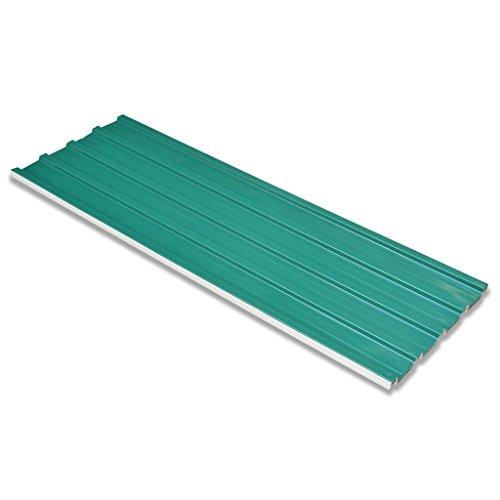 Festnight Panel para Tejado 12 Piezas - Color de Verde Material Acero Galvanizado, 129x45 cm