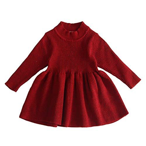 Livoral Festes warmes Strickjackenkleid des Kleinkindbabykindmädchens Stricken Häkelarbeitkleidkleidung(Wein,2-3 Years)