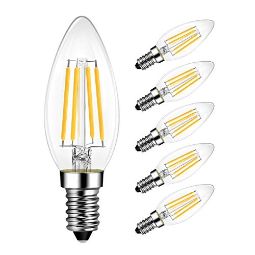 no Flickering Filament LED Candle Bulb 806 Lumen 5.5W Candelabra LED Bulbs Dimmable 1 Pack UL Listed E12 LED Bulb 60W Equivalent LED Chandelier Light Bulbs 4000K Natural Daylight White Bulb