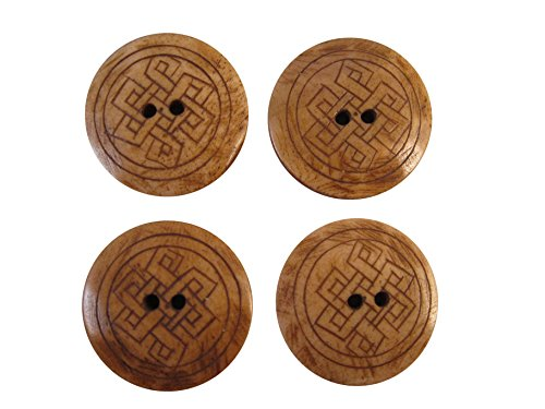 Zen Canyon Natural Brown Celtic Endless Knot - 2-Hole Carved Yak Bone Buttons - Pack of 4-1-3/16' Diameter - Fair Trade