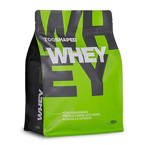WHEY - proteine in polvere, 1000g, whey proteins al gusto fragola, proteine per massa muscolare con BCAA, L-carnitina, minerali e vitamine - da TOOSHAPED