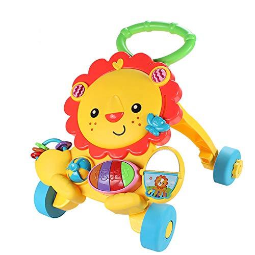 ZLMI Marchette Multifonction Walker avec Musique Little Lion Anti-Renversement Chariot 0-2 Ans Bébé Vieux Puzzle d'apprentissage Précoce