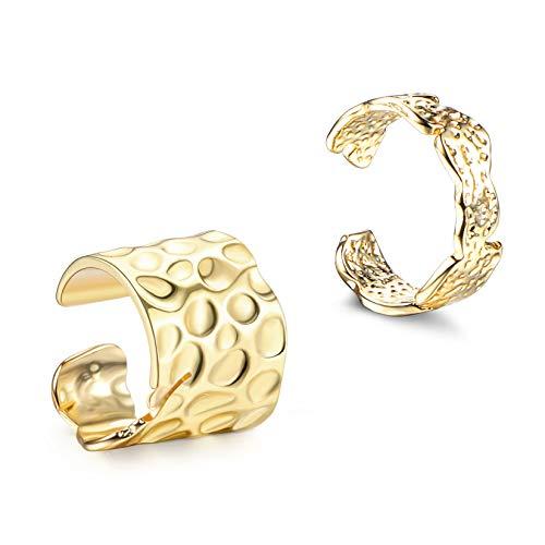 Adramata Pendientes Ear Cuff Para Mujer Chapado En Oro De 18 Quilates Puños De Oreja Sin Perforaciones Clip De Cartílago En Pendientes Envolventes Tipo Ear Cuff Ajustable
