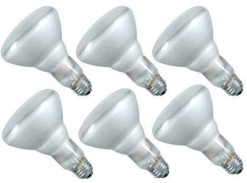Luxrite LR20880 (6-Pack) 65-Watt BR30 Incandescent Flood Light Bulb, Dimmable, Frosted Finish, 500 Lumens, E26 Base