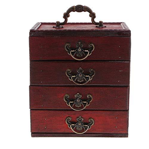 XUFAN Caja de Caja de joyería de 4 Capas Antiguas Caja de la Caja del Tesoro artesanía de Arte de Madera Cajas de joyería (Color : A)
