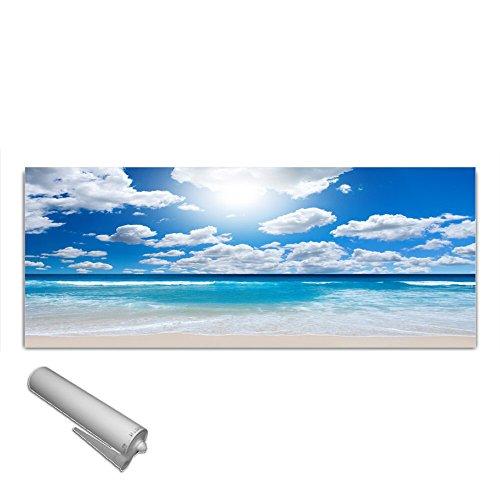DekoGlas Küchenrückwand Glas \'Nordsee Strand Wolken\' Herdblende aus Sicherheitsglas (ESG) 125x50 cm Spritzschutz Fliesenspiegel
