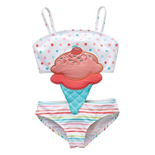 Digirlsor Toddler Baby Girl One Piece Swimsuit Kids Cute Cartoon Bikini Swimwear Bathing Suits for Girls, White/Ice-cream, 2T