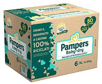 PAMPERS Babydry - Paquete de repuesto 6 XL (60 unidades)