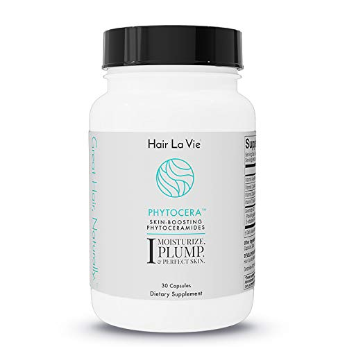 Hair La Vie Phytocera Dry Skin Supplement for Women - Phytoceramides for Aging Skin - Rice Based and Gluten Free - Glowing Skin Vitamins