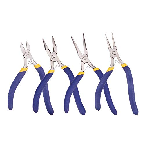 BENECREAT 4-Piece Precision Jewelry Pliers Set for Jewelry Making - Long Nose with Cutter/Round Nose/Long Nose/Side Cutting Pliers