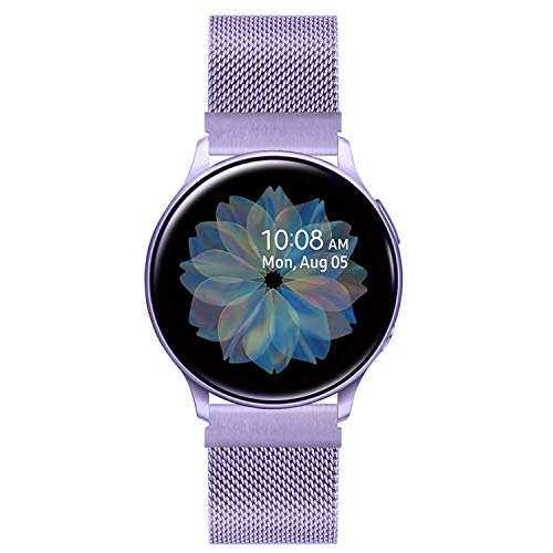 Solob 20mm Metal Band Compatible for Samsung Galaxy Watch 42mm/Active 2 40mm 44mm/Samsung Galaxy Watch 3 41mm/Gear Sport/Garmin Vivoactive 3 Stainless Steel Strap Quick Release Replacement Bands (Lavender Purple)