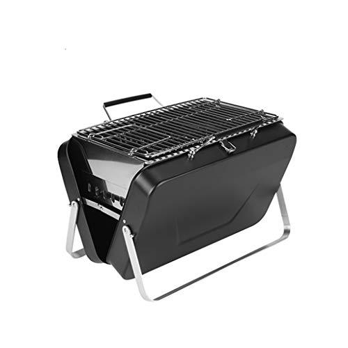 FEANG Faltbarer Holzkohlegrill, tragbarer BBQ-Grillgitter Leichter Einfache Grill für Outdoor-Kochen Camping Wandern Picknicks Reisen (Color : Black2)