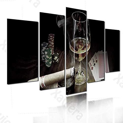 Pintura de diamante Cigarrillo Copa de vino Poker Casino 5 piezas Póster de pintura Decoración para el hogar Sala de estar Dormitorio Arte de la pared