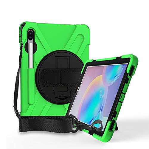 QYiD Case for Galaxy Tab S7 11 Pulgadas 2020,SM-T870/T875, [Support S Pen Charging] Cubierta Resistente Duradera a Prueba de Golpes con Soporte/Correa de Mano para Samsung Tab S7 11 2020, Verde