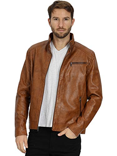 WEEN CHARM Mens Leather Jacket Stand Collar PU Faux Motocycle Jackets