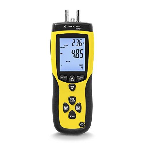 TROTEC TA400 Staurohr-Anemometer Inkl. Kalibrier-Zertifikat, Messgerät Zur Genauen Strömungsmessung Von Luft Oder Gasen