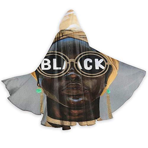 Zome Lag Capa del Cabo para Adultos Mujer Afro Mujer Gafas De Sol Negras Capas con Capucha De Halloween Afroamericano Disfraces Capas De Cosplay Traje De Bruja Capa con Capucha