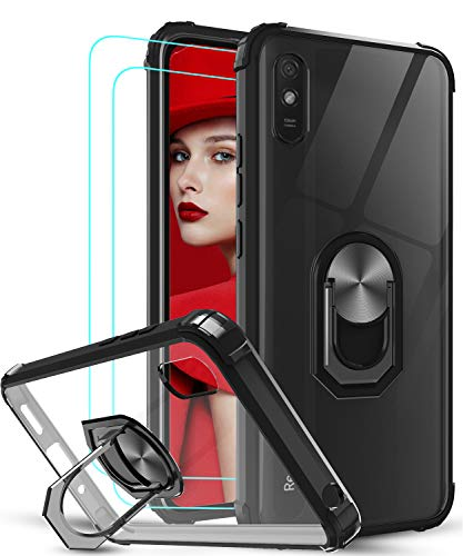 LeYi für Xiaomi Redmi 9A Hülle mit Panzerglas Schutzfolie(2 Stück),Ringhalter Schutzhülle Crystal Clear Acryl Cover Air Cushion Bumper Handy Hüllen für Hülle Xiaomi Redmi 9A Handyhülle Schwarz