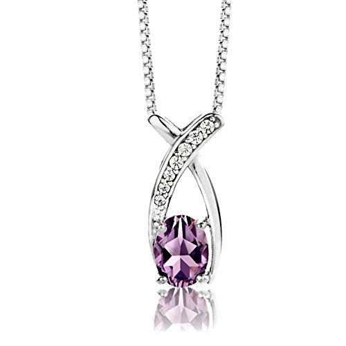 Byjoy Pendant Necklace For Women 925 Sterling Silver With Brilliant Cut Alexandrite Gem & Complimenting Cz Stones With 45 Cm Silver Chain
