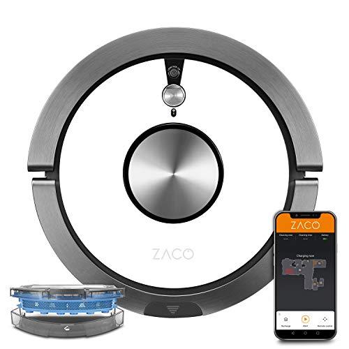 ZACO A9sPro, robot aspirapolvere con funzione di pulizia, app e Alexa, mapping, fino a 2 ore, per pavimenti duri e tappeti, peli di animali, robot aspirapolvere con stazione di ricarica, bianco