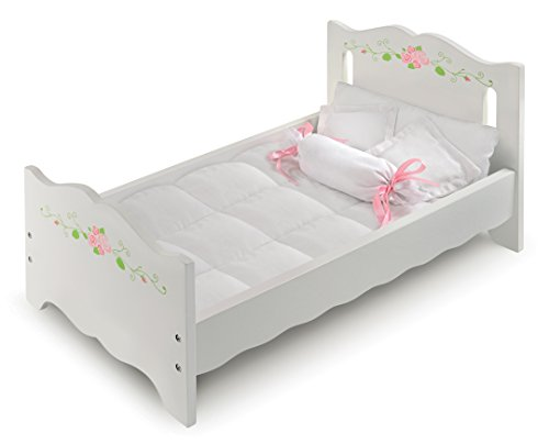 White Rose Doll Bed with Bedding and Free Personalization Kit (fits American Girl Dolls)