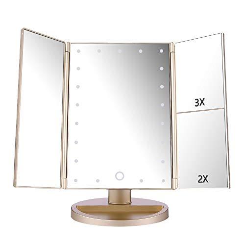 deweisn Specchio Trucco con 21 LEDs, Specchio di Vanity Trifold Ruota di 180° Ingrandimento 1x / 2X / 3X Specchio per Il con Touchscreen per Il Trucco e la Cura della Pelle (Oro)