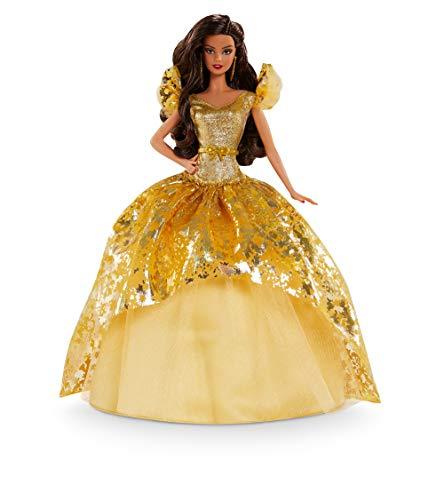 Barbie Signature Magia delle Feste 2020, Bambola con Capelli Scuri Lunghi con Abito Dorato, con Certificato di Autenticità, GHT56