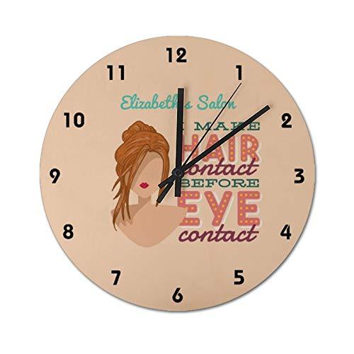 Reloj de pared silencioso, no hace tictac, 25 x 25 cm, personalizado peluquería, estilo retro de salón de dibujos animados, estilo rústico, para decoración del hogar, fácil de leer