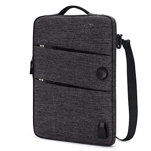 ZPDD 11 13 14 15,6 17,3 Pulgadas Bolsa Impermeable para portátil Poliéster con Puerto de Carga USB Orificio para Auriculares (Color : Black, Size : 10-Inch)