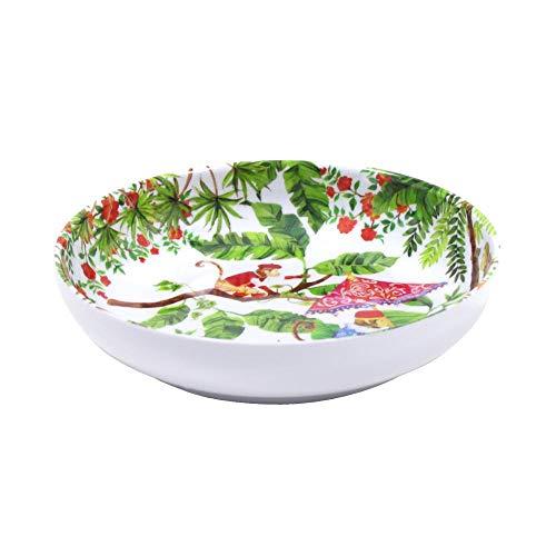 Les Jardins de la Comtesse - Assiette Creuse en Mélamine Pure/Assiette à Soupe ou Pâtes Rouge Corail-Verte du Service de Table Singes de Bali - Collec