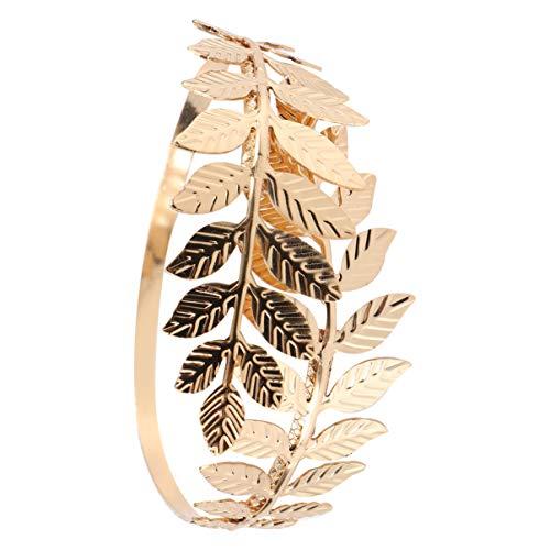 Happyyami Blatt Armband Armband Eisen Verstellbar Offener Mund Lorbeer Blatt Zweig Armreif Braut Arm Manschette Schmuck für Hochzeit Geburtstag Geschenke Täglich (Golden)