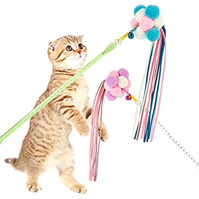 Heyu-Lotus 2 Pcs Interactive Cat Teaser Wands, Cat Toys Stick with Tricolor Balls, Bells and Tassel for Cat Kitten Having Fun Exercise Playing
